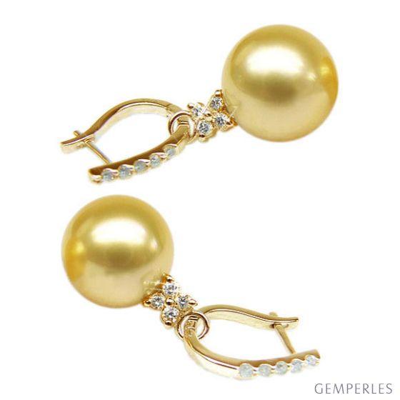 Orecchini perle d'Australia dorate. Monachella oro giallo, diamanti - 12/13mm - 2