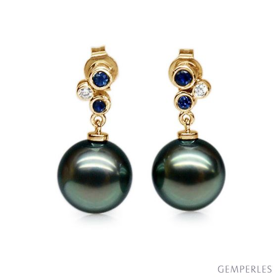 Orecchini - Pendenti oro giallo - Perle di Tahiti nere, verdi - 9/10mm