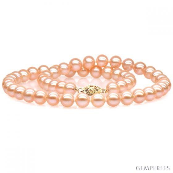 Collana di perle d'acqua dolce rosa - 7/7.5mm, AAA