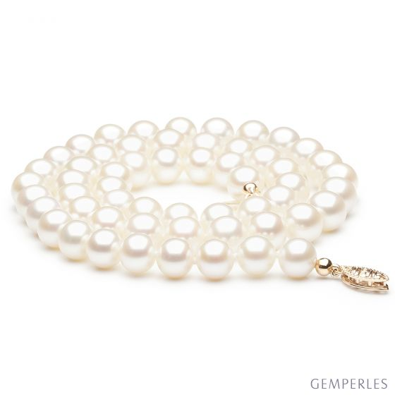 Collana perle acqua dolce bianche - 7/7.5mm, AAA