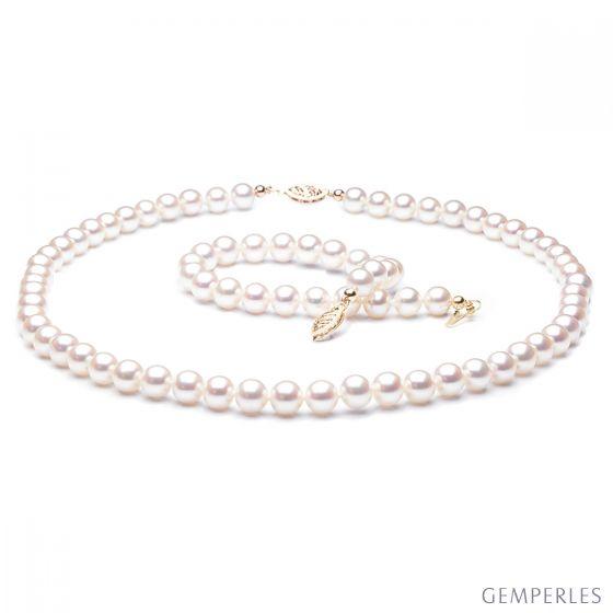 Parure perle d'acqua dolce bianche - Collana, braccialetto - 6.5/7.5mm - 2