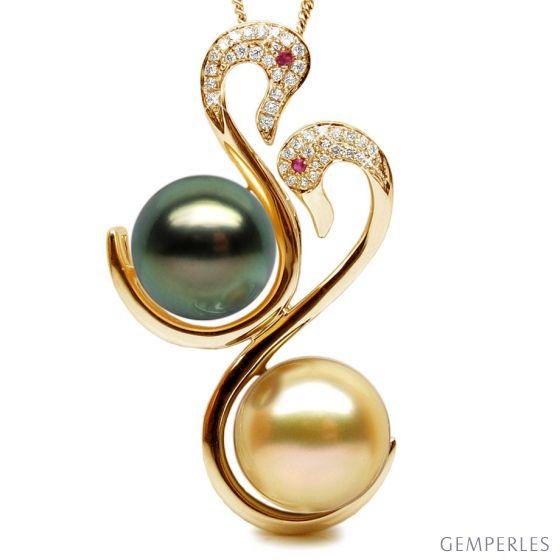 Ciondolo oro giallo - Perle dei Mari del Sud - 10/12mm