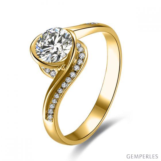 Anello solitario oro giallo, diamanti 0.42ct - Baudelaire, A una Madonna
