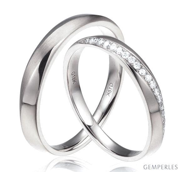 Fedi matrimonio, Fedine -  Oro giallo 7.70gr, Diamanti 0.180ct