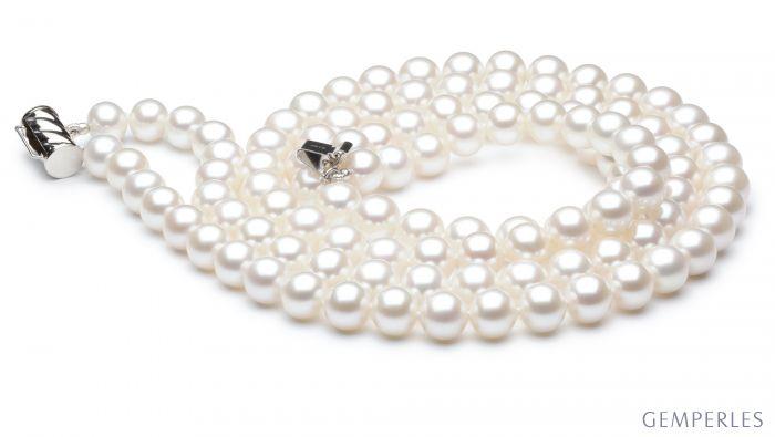 Collana due fili perle acqua dolce bianche - 7/7.5mm, AAA