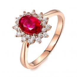 Anello con rubino e diamanti - Oro giallo 18 carati