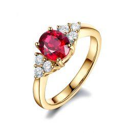 Anello Dolce Francia. Oro giallo, Diamanti e Rubino