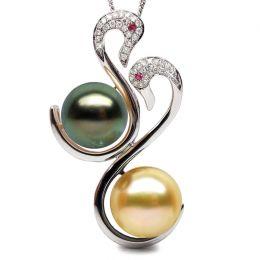 Ciondolo oro bianco - Perle dei Mari del Sud - 10/12mm