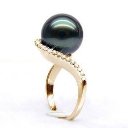 Anello oro giallo - Perla di Tahiti nera, bronzo - 11/12mm