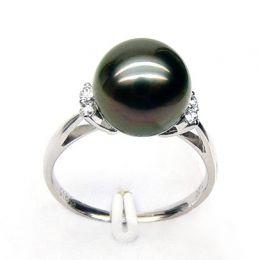 Anello oro bianco, diamanti - Perla di Tahiti nera - 10/11mm