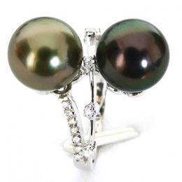 Anello oro bianco - Perle di Tahiti nere, pavone, melanzana - 9.5/10mm