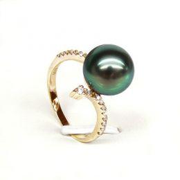 Anello oro giallo - Perla di Tahiti nera, pavone - 10/10.5mm