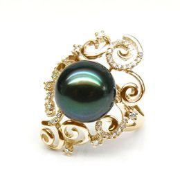 Anello curve oro giallo - Perla di Tahiti nera, verde - 11/12mm