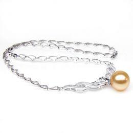 Collana ciondolo oro bianco - Perla d'Australia dorata - 12/13mm