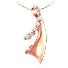 Ciondolo - Oro rosa 2.14gr - Diamanti 0,290ct