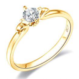 Anello solitario Weston in Oro giallo e Diamante solitario