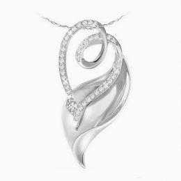 Ciondolo - Oro bianco 3.80gr - Diamanti 0.280ct