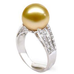 Anello oro bianco, diamanti - Perla d'Australia dorata, bronzo - 10/11mm