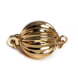 Chiusura Boccino. Palla striata 9mm - Oro giallo 14 carati. 15e