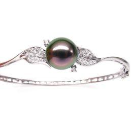 Bracciale rigido oro bianco - Perla di Tahiti nera, pavone - 10/11mm