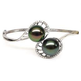 Bracciale rigido oro bianco - Perle di Tahiti nere, verde, pavone - 10/11mm