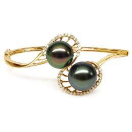 Bracciale rigido oro giallo - Perle di Tahiti nere, verde, pavone - 10/11mm