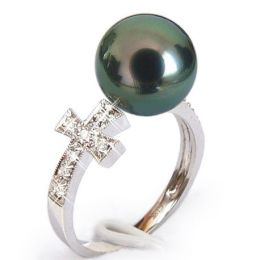 Anello croce oro bianco - Perla di Tahiti nera, pavone - 10/10.5mm