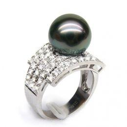 Anello oro bianco, diamanti - Perla di Tahiti nera, bronzo - 11/12mm