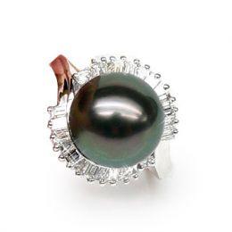 Anello oro bianco - Perla di Tahiti nera, blu, verde - 11/12mm