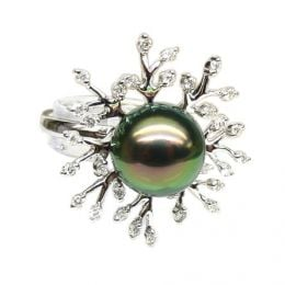 Anello oro bianco - Perla di Tahiti nera, pavone - 10.5/11mm