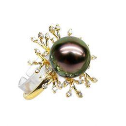 Anello oro giallo - Perla di Tahiti nera, pavone - 10.5/11mm