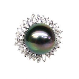 Anello oro bianco - Perla di Tahiti nera, pavone - 13/14mm
