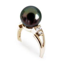 Anello oro giallo - Perla di Tahiti nera, verde, melanzana - 9/9.5mm