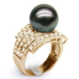 Anello oro giallo, diamanti - Perla di Tahiti nera, bronzo - 11/12mm
