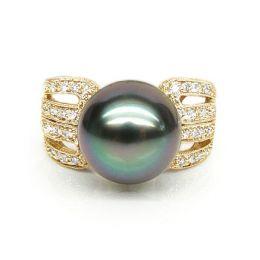 Anello oro giallo, diamanti - Perla di Tahiti nera, pavone, melanzana - 11/12mm