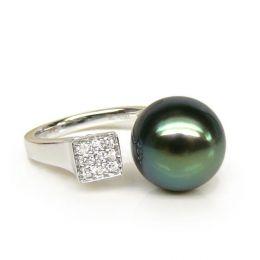 Anello oro bianco, diamanti - Perla di Tahiti nera, verde - 11/12mm