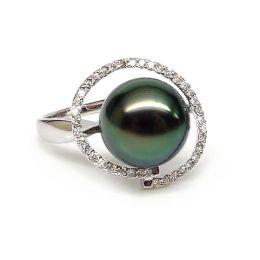 Anello oro bianco - Perla di Tahiti nera, verde - 10/11mm