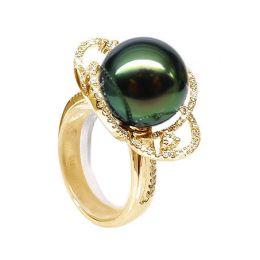 Anello Polinesia oro giallo - Perla di Tahiti nera, verde - 11/12mm