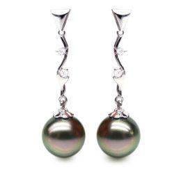 Orecchini - Pendenti oro bianco -  Perle di Tahiti nere, bronzo, melanzana - 10/10.5mm