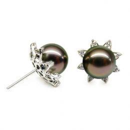Orecchini stella - Farfallina oro bianco -  Perle di Tahiti nere, bronzo - 10/10.5mm