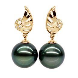 Orecchini ali - Pendenti oro giallo - Perle di Tahiti nere, verde - 9/10mm