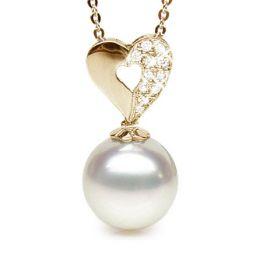 Ciondolo cuore oro giallo - Perla d'Australia bianca - 11/12mm