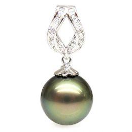Ciondolo oro bianco - Perla di Tahiti nera, bronzo - 13/14mm