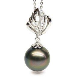 Ciondolo natura oro bianco - Perla di Tahiti nera, bronzo - 13/14mm