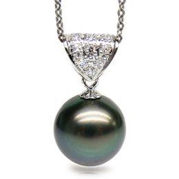 Ciondolo oro bianco - Perla di Tahiti nera, pavone, blu - 11/12mm