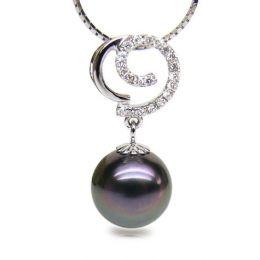Ciondolo oro bianco - Perla di Tahiti nera, pavone, melanzana - 11/12mm