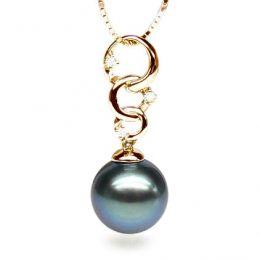 Ciondolo anelli oro giallo - Perla di Tahiti nera, blu - 11/12mm