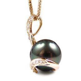 Ciondolo oro giallo - Perla di Tahiti nera, bronzo - 10/11mm