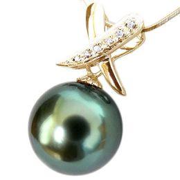 Ciondolo oro giallo - Perla di Tahiti nera, blu - 9/10mm