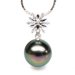 Ciondolo stella oro bianco - Perla di Tahiti nera, pavone - 10/11mm